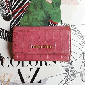 Miu Miu Key Holder Key Wallet Pink Croco